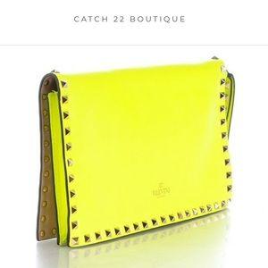 Valentino Nappa Rockstud Fluo Neon Yellow Clutch